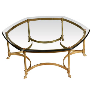 brass coffee table by Labarge